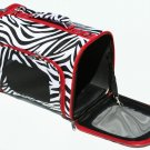 SWDSI533 L - 16 INCH LARGE PET CARRIER ZEBRA WITH RED TRIM