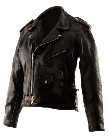 SZ 3XL Classic Design Patchwork Leather Motorcycle Jacket SWDSIHH112-3X