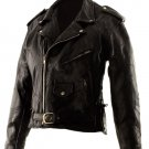 SZ Large Classic Design Patchwork Leather Motorcycle Jacket SWDSIHH112-LG