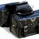 SWDSIHH517 - 2 Piece Eagle / Studded PVC Motorcycle Saddle Bag Set