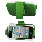 SWDSI1078 - Silicon+Protector+Holster w/Clip for Iphone 4/4S Green