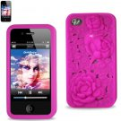 SWDSI1109 - Pink Silicone Iphone 4S Case with Rose Design