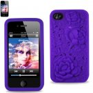 SWDSI1110 - Purple Silicone Case with Rose design for Iphone 4S