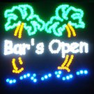 SWEDLEDBarOPENPalm - 19x19 Large Bar OPEN w/Palm Trees Motion LED Sign