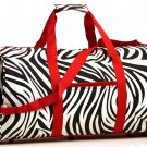"20"" Red Straps White with Black Zebra Print duffle Bag  SWDSI1016"