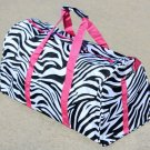 "20"" Black & White Zebra Print Duffle Bag w/ Pink Trim  SWDSI1086"