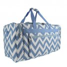 SWDSI1171 BLUE AND WHITE 22 IN CHEVRON DUFFLE