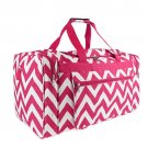 PINK AND WHITE 22 IN CHEVRON DUFFLE  SWDSI1175