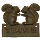 Cast Iron Squirrel Welcome Plaque - SWIWG  0170S-08431