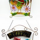 Welcome Rooster Wall Plaque 2 assorted, priced each - SWIWG 0126-212328