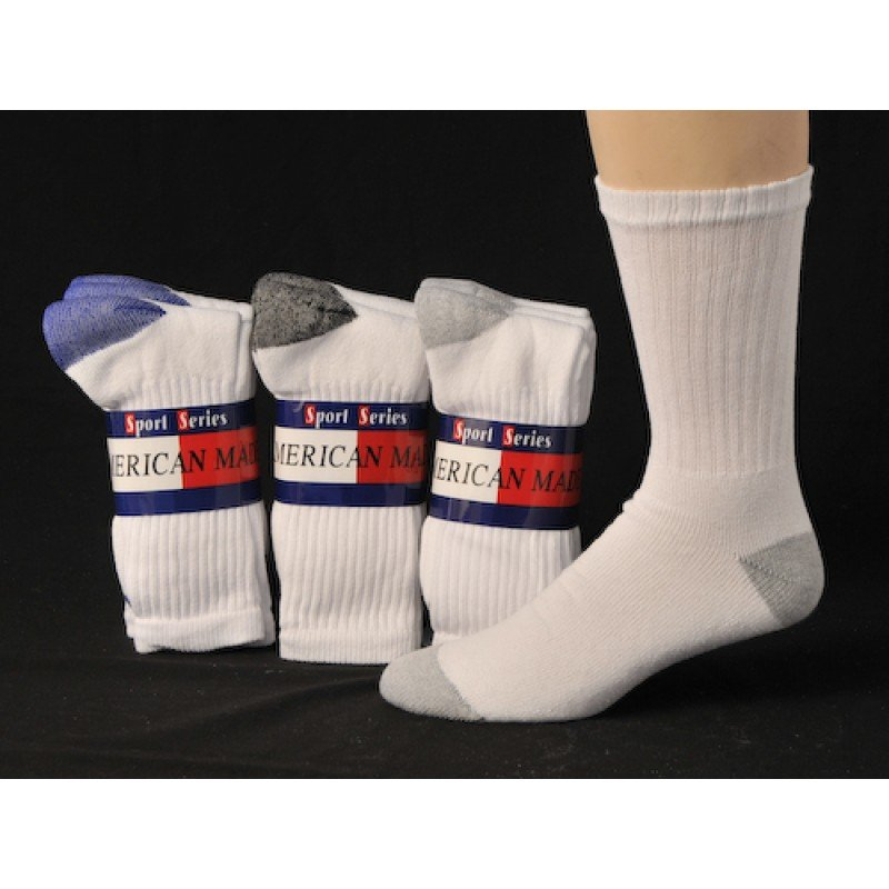 SIZE 10-13  1 DOZEN MEN'S CREW SOCKS WITH ASSORTED COLOR HEEL AND TOE SWALSKC10ASTHT