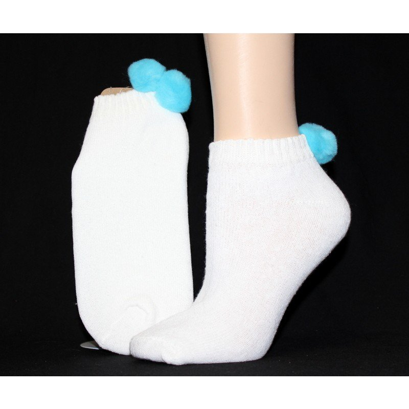 1 DOZEN SIZE 9-11 WOMENS POM POM NO SHOW SOCKS WITH TURQUOISE BALL  SWALSKPOM-TURQ