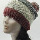 SWRUBDAH20633BUR - POM POM WINTER BEANIE HAT AND CAP