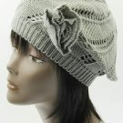 SWRUBDAH2426GRY- KNITTED FLOWER ACCENT BERET HAT AND CAP