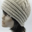 SWRUBBTH4212BEG- DOUBLE LAYERED WINTER BEANIE HAT AND CAP