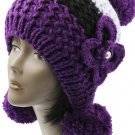 SWRUBBTH50721PUR- EAR FLAP WINTER BEANIE HAT AND CAP