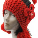 SWRUBBTH50721RED- EAR FLAP WINTER BEANIE HAT AND CAP