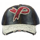 SWRUBKYH8175RDDBLU - BREAST CANCER AWARENESS RIBBON HAT AND CAP