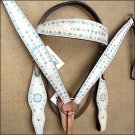 WESTERN LEATHER HORSE BRIDLE HEADSTALL BREAST COLLAR TAN OFF WHITE - SWHILAS-HSZT113A-a1