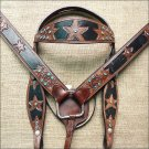 ZT135 WESTERN LEATHER HORSE BRIDLE HEADSTALL BREAST COLLAR DARK BROWN BLACK - SWHILAS- HSZT135