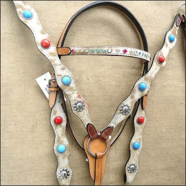 WESTERN LEATHER HORSE BRIDLE HEADSTALL BREAST COLLAR NATURAL COWHIDE HAIR ON- SWHILAS- HSZT143