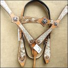WESTERN LEATHER HORSE BRIDLE HEADSTALL BREAST COLLAR COWHIDE PRINT W/ CONCHO - SWHILAS- HSZT144