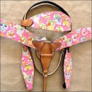T65 WESTERN LEATHER HORSE HEADSTALL BRIDLE BREAST COLLAR SET FUN PRINT - SWHILAS-HSZT165