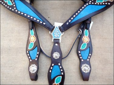 WESTERN LEATHER HORSE BRIDLE HEADSTALL BREAST COLLAR SET FLORAL BROWN TURQUOISE - SWHILAS-  HSZT168
