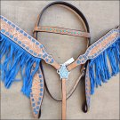 WESTERN LEATHER HORSE BRIDLE HEADSTALL BREAST COLLAR SET TAN W/ BLUE FRINGES - SWHILAS-  HSZT172
