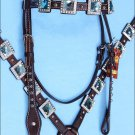 WESTERN LEATHER HORSE HEADSTALL BREAST COLLAR BROWN BLUE BLING CONCHO - SWHILAS-