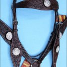 WESTERN LEATHER HEADSTALL BREAST COLLAR BROWN AB CRYSTAL BLING CONCHO - BHPA442DBCN043