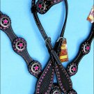 WESTERN LEATHER ONE EAR HEADSTALL BREAST COLLAR BLACK TEXAS STAR CONCHO - BHPA446CN021