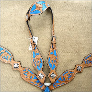 WESTERN LEATHER HORSE ONE EAR HEADSTALL BREAST COLLAR TAN TURQUOISE BLING CONCHO -  HSZT149