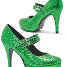 Size 7 Double Strap Green Glitter Mary Jane 4 Inch Heel - SWWHC-E421-JANE-G