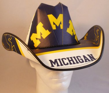 Michigan Wolverines  Cowboy Hat Made Of Officially Licensed Materials   SW-ETSBBH