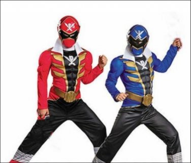 SZ Medium Power Rangers Super Megaforce Red Blue Reversible Muscle Costume - SWEB-REDBLUE