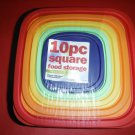 10 PC SQUARE FOOD STORAGE CONTAINERS SET MICROWAVE SAFE 5 containers