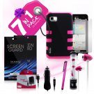 3 Piece Hybrid Silicone Protective Pink Case for LG Optimus F3 7 Piece Bundle