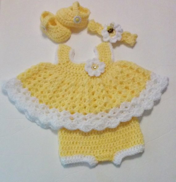 Crochet Yellow Newborn Dress Set  Baby Dress, Headband, Mary Jane Booties, Diaper Cover