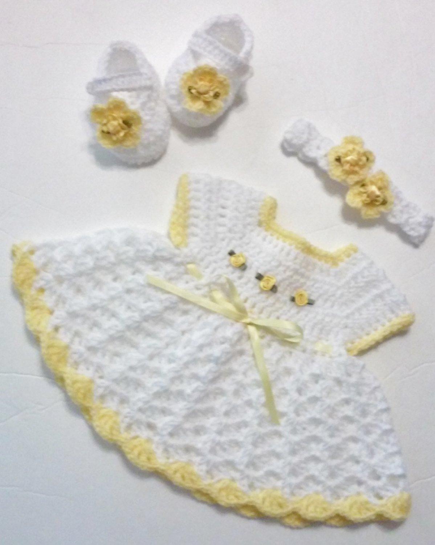 Crochet White Newborn Dress Set  Baby Dress, Headband, Mary Jane Booties, Diaper Cover