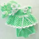 Crochet Green Newborn Dress Set  Baby Dress, Hat, Mary Jane Booties, Diaper Cover
