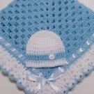 Crochet Baby Blanket Set, Baby Beanie Hat, Baby Blue and White, Baby Boy