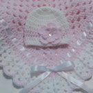 Crochet Baby Blanket Set, Baby Beanie Hat, Baby Pink and White, Baby Girls