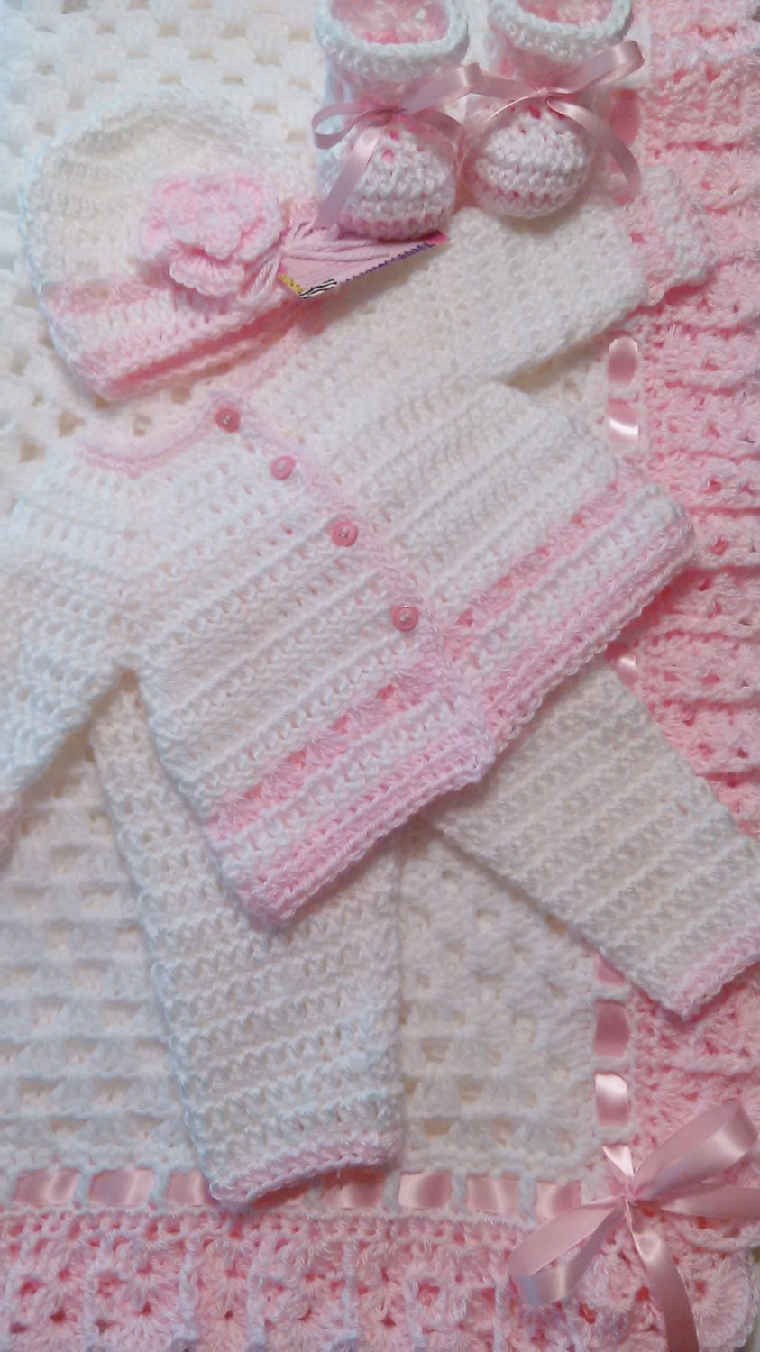 Crochet Baby Layette and Blanket Set, Baby Beanie Hat, White and Pink, Baby Girls