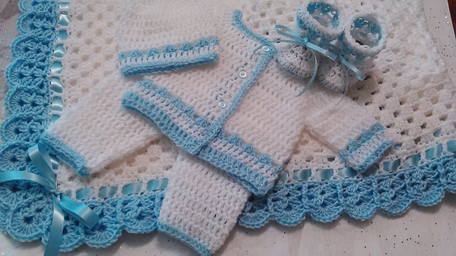 Crochet Baby Layette and Blanket Set, Baby Beanie Hat, White and Baby Blue, Baby Boys