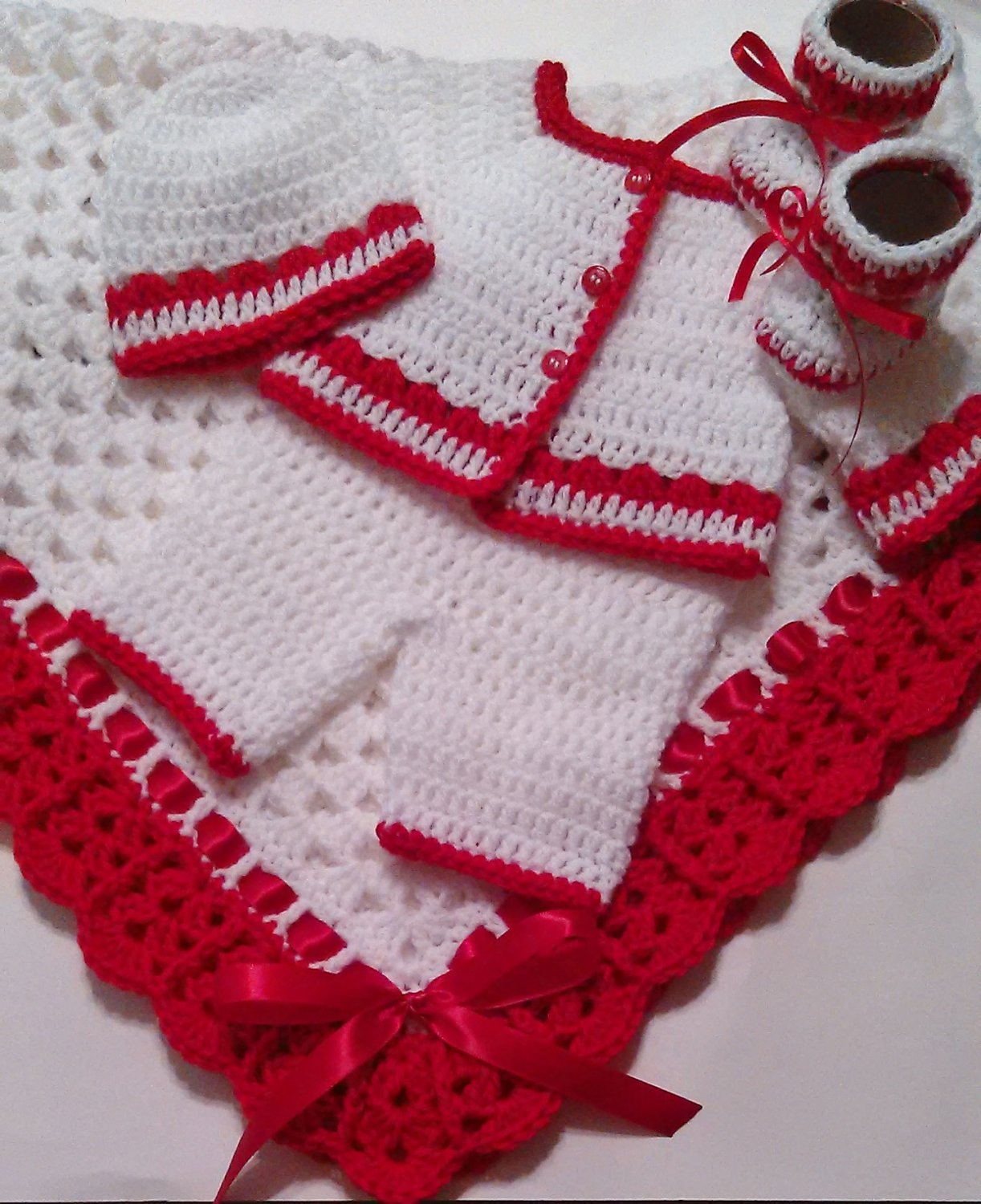 Crochet Baby Layette and Blanket Set, Baby Beanie Hat, White and Red, Baby Boys
