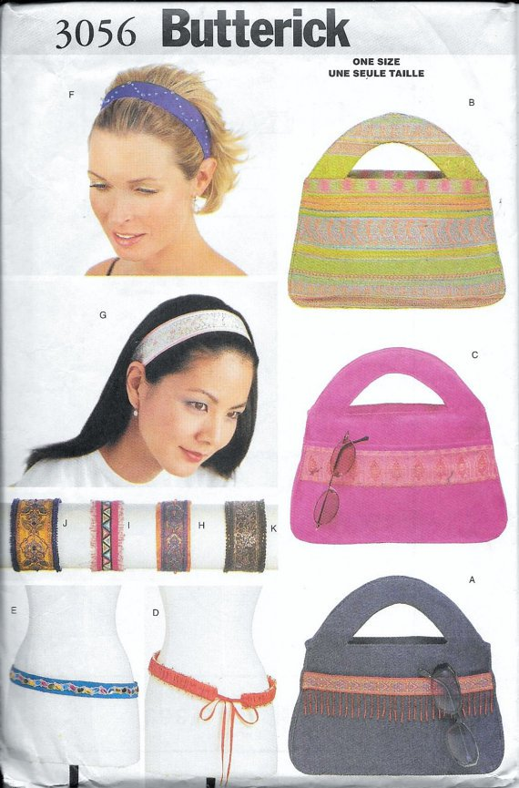 Butterick 3056 Bag Purse Headband Bracelet Belt Sewing Pattern UNCUT