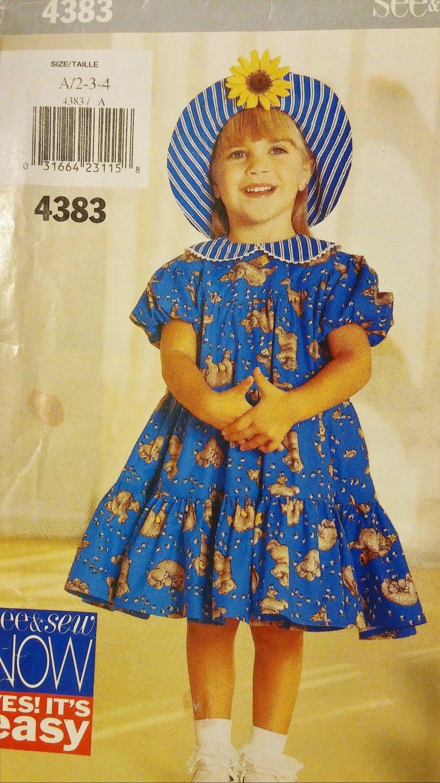 Girl's Dress Pattern, Short Sleeve Dress with Ruffle and Sun Hat, BUTTERICK 4383 SizeA 2-4X