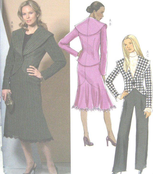 Autumn Lined jacket skirt pants Modern day wear sewing pattern Butterick 4869