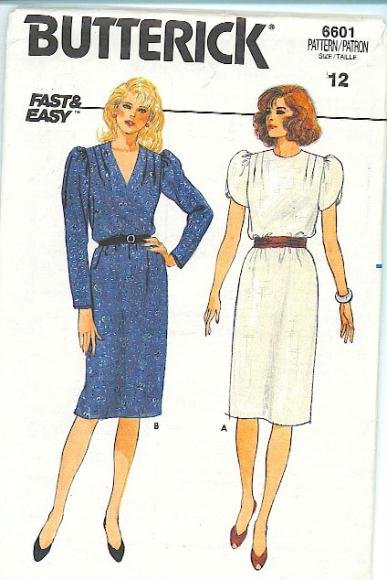 Tunic Dress Pattern Butterick 6601 Tulip Sleeves Shoulder Tucks Retro Vintage Size 12